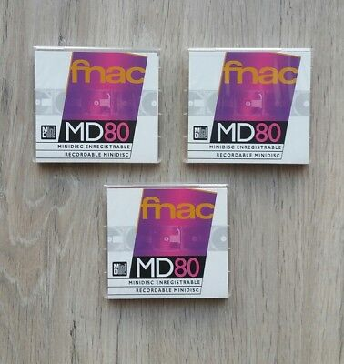 LOTE PACK x3 MINIDISC FNAC MD 80 MINUTES • NEW AND SEALED