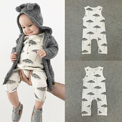 Infant Newborn Baby Boy Girl Kids Jumpsuit Romper Bodysuit Cotton Clothes Outfit