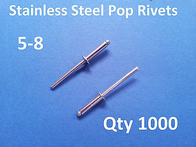 """1000 POP RIVETS STAINLESS STEEL BLIND DOME 5-8 4mm x 16.5mm 5/32"""""""
