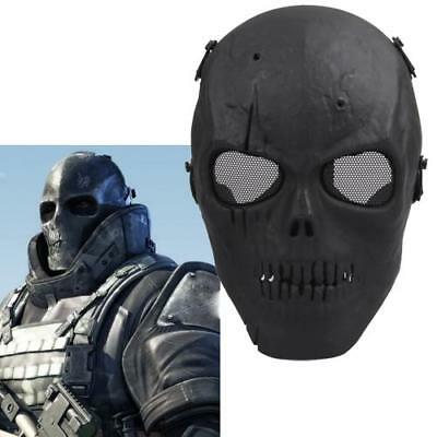 Military Mask Protect Skull Skeleton Full Face Tactical Paintball Airsoft Black