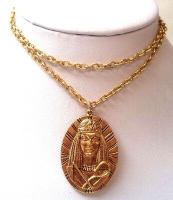 "Stunning Vintage Estate Gold Tone Egyptian Figure 24"" Necklace!! 6764W"