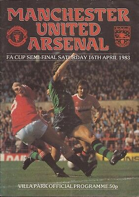 Football Programme - Manchester United v Arsenal - FA Cup Semi-Final - 16/4/1983