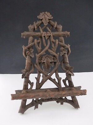 Rare Black Forest Carved Wooden Photo Easel Frame Stand