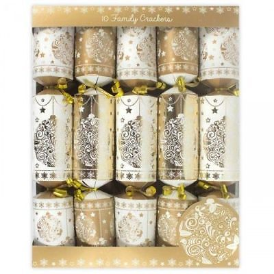 RSW Festive Family Bauble Christmas Xmas Crackers, Gold and White - Pack of 10