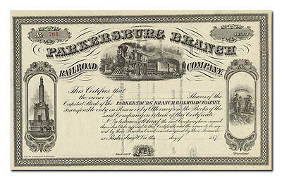 Parkersburg Branch Railroad Company Stock Certificate