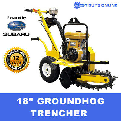 """Trencher Trench Digger 18"""" Groundhog 5HP Robin Engine Industrial Quality"""