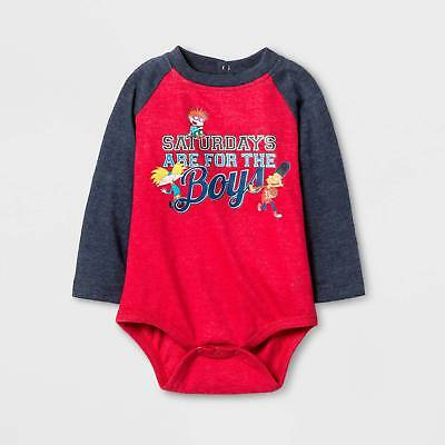 Baby Boys' Rugrats® Saturdays are For the Boys Long Sleeve Bodysuit - Red