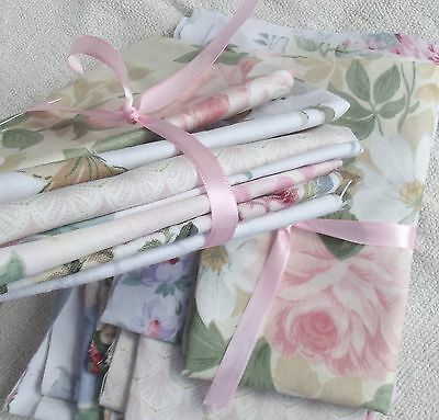 Bundle Vintage French Fabric Summer Drawing Room Floral scraps remnants