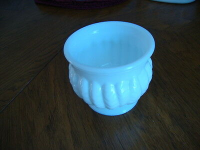 Vintage Randall Milk Glass Ribbed  planter/ vase/ bowl