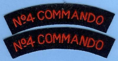 British Army Sign Shoulder Title Patch Pair---No. 4 COMMANDO, Free French