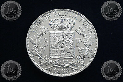 BELGIUM 5 FRANCS 1868 / POSITION A ( LEOPOLD II ) SILVER coin (KM# 24) XF