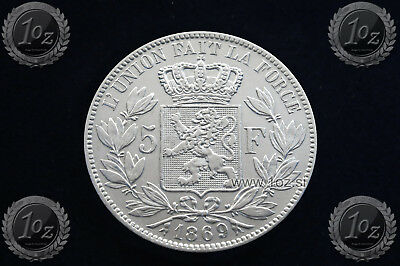 BELGIUM 5 FRANCS 1869 / POSITION A ( LEOPOLD II ) SILVER coin (KM# 24) XF