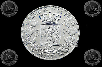 BELGIUM 5 FRANCS 1871 / POSITION A ( LEOPOLD II ) SILVER coin (KM# 24) XF