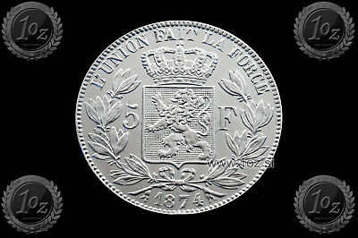 BELGIUM 5 FRANCS 1874 / POSITION A ( LEOPOLD II ) SILVER coin (KM# 24) XF