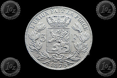 BELGIUM 5 FRANCS 1875 / POSITION A ( LEOPOLD II ) SILVER coin (KM# 24) XF