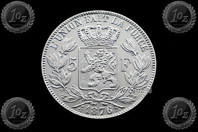 BELGIUM 5 FRANCS 1876 / POSITION A ( LEOPOLD II ) SILVER coin (KM# 24) XF