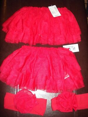 NWT Lot of 2 Baby Girls Red Tutu/Headwrap Children's Place 0-6 Months