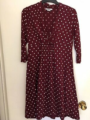 Mamas And Papas Red Spotted Maternity Nursing Breastfeeding Dress 12