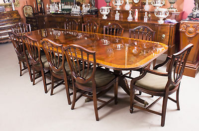 Bespoke 10 ft Flame Mahogany Twin Pillar Dining Table & 10 Chairs