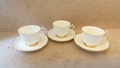 Aynsley Golden Crocus 3 Tea Cups and Saucers PERFECT