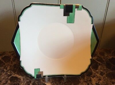 SHELLEY, A GREEN BLOCKS Pattern SandwIch Plate,11785 Excellent condition