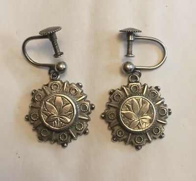 Victorian Silver Engraved Antique Earrings NO RESERVE