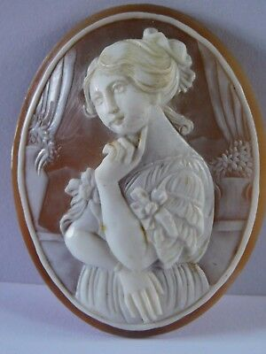 ANTIQUE CARVED CAMEO for BROOCH unusual with good detail