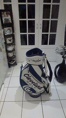 CLEVELAND PVC White and Blue 6 Way 9 pockets Tour/Cart/Staff Bag
