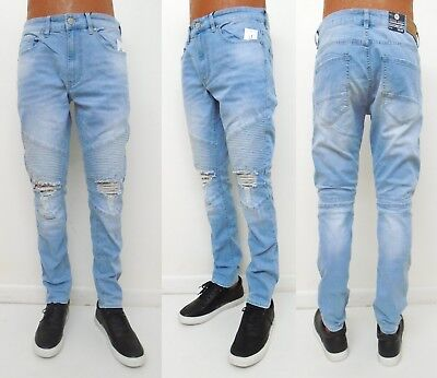 4009df174a86 Men s JORDAN CRAIG Ice Blue Blow Out Knee Biker Ribbed Slim Fit Jeans JM3101