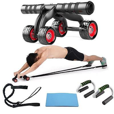 4 Wheel Abdominal Ab Muscle gym home exercise Fitness Roller Training XM