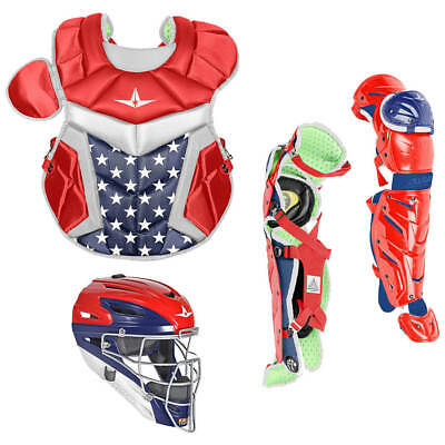 All Star System 7 Axis USA Youth 10-12 Catcher's Gear Set - Red White Blue