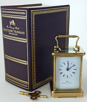 MATTHEW NORMAN 8-Day BRASS CARRIAGE CLOCK, SWISS MADE, No.1754, ORIGINAL BOX