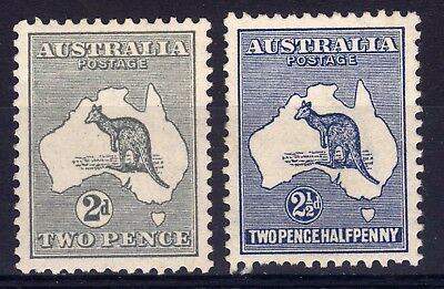 AUSTRALIA 1915 KANGAROOS 2nd WMK 2d AND 2½d HINGED MINT, SG 24, 25.