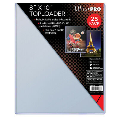 """Pack of 25 Memorabilia Toploaders 8"""" x 10"""" Clear Photo Card Holder Ultra Pro NEW"""