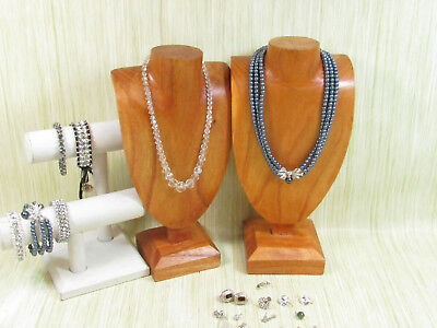 Costume Sparkle Jewelry Lot AS IS Necklaces Bracelets Earrings Blue Pearls
