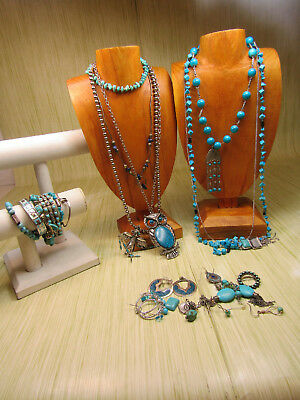 Silver Tone Costume Jewelry Lot Turquoise Color Beads Stones Necklaces Earrings