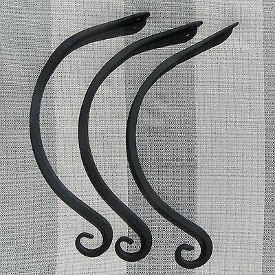 (3) Three - Old Wrought Iron Curve Curved Plant Planter Hook Hangers