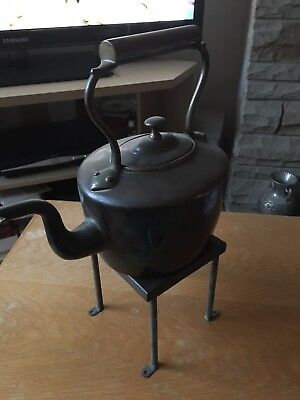 vintage copper kettle and stand