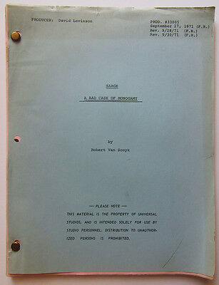 "Vintage ""Sarge"" script Final Revision  9/17/71 ""A Bad Case of Monogamy"""