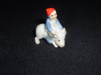 Vintage Wade Whimsies Lucky Leprechaun  Riding On The Pig Figure Red Hat