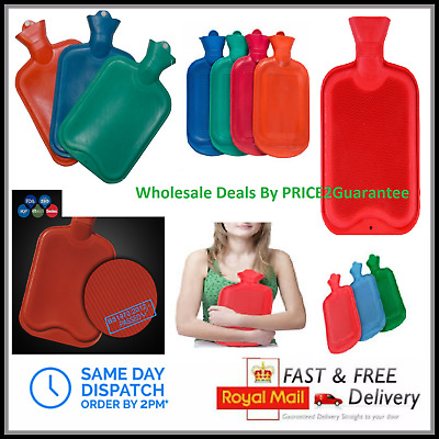 2L hot water bottle high quality rubber 3x and 2x Red Green Blue various packs
