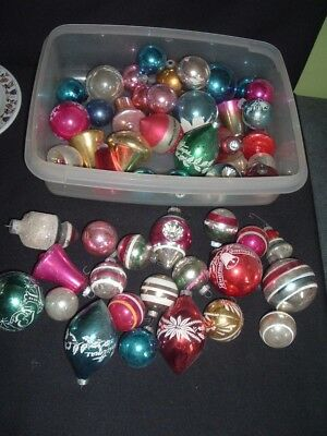 Lot of 50 Vintage Glass Christmas Ornaments Shiny Brite Indents Mixed Sizes