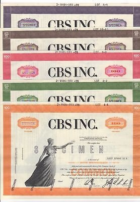 SPECIMEN - Set of 5 CBS Inc.  Stock Certificates