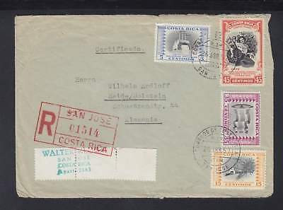 Costa Rica R-Mail Cover San Jose Set circ. 1957 to Heide/Holstein Germany