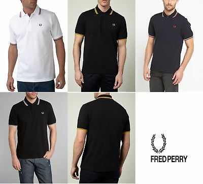 Mens Fred Perry Polo T-Shirt In Black Blue Navy White S M L XL XXL - Brand new