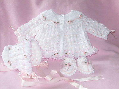 Baby Knitting Patterns Charlotte Matinee Coat, Bonnet and Shoes 0-3mths