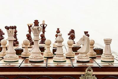 Senator Massive Chess and Draughts / Checkers Hornbeam Wooden Set 43x43cm -