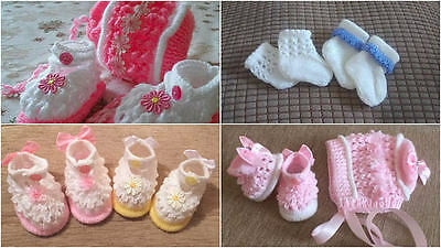 Baby Knitting patterns: Olivia Shoes, Bonnet Newborn to 0-6mths