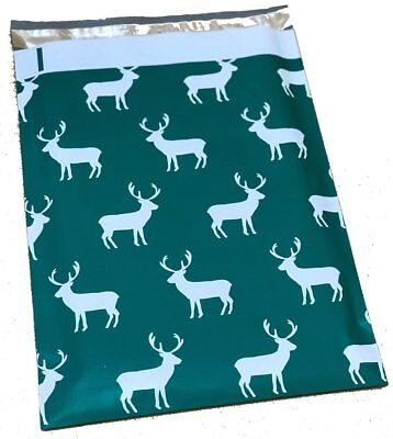 100 10x13 Green Reindeer Christmas Designer Poly Mailers Envelopes Bags