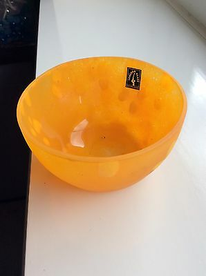 Stunning Orange / Spotted Hand Made Langham Glass Blown Cut Cased Vase / Bowl